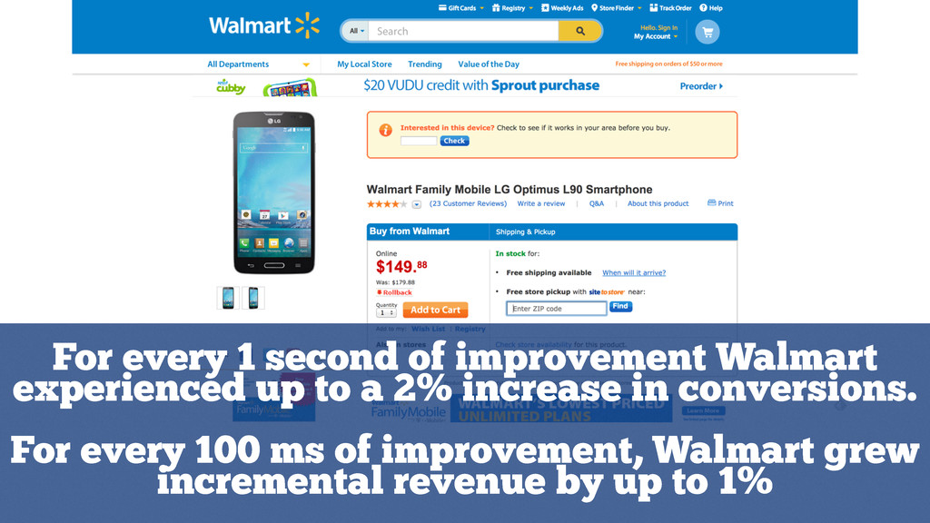 For every 1 second of improvement Walmart exper...