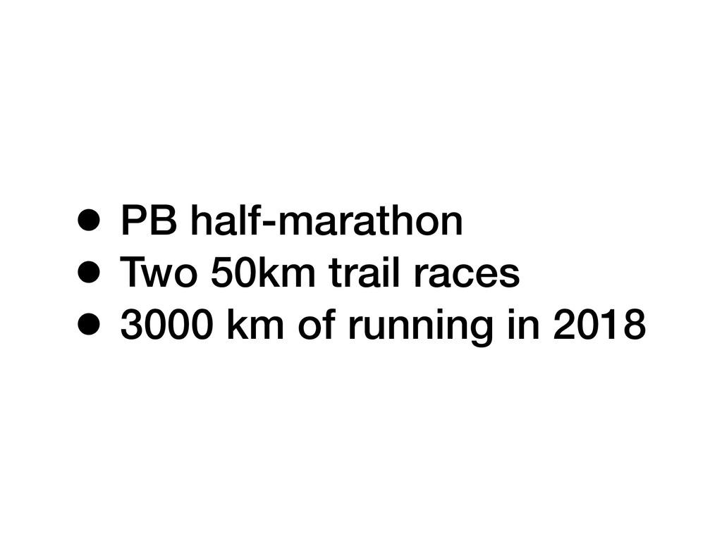 • PB half-marathon • Two 50km trail races • 300...