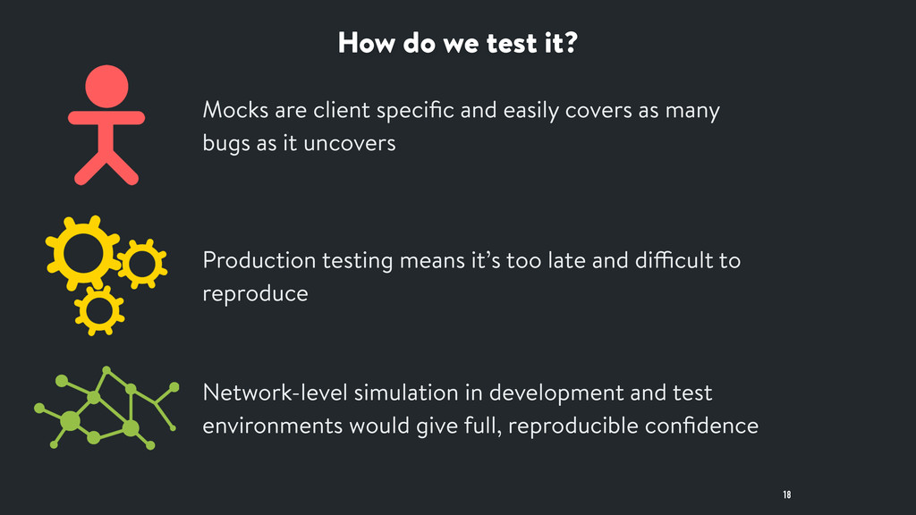 How do we test it? 18 Mocks are client specific ...