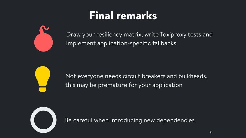 Final remarks 51 Draw your resiliency matrix, w...