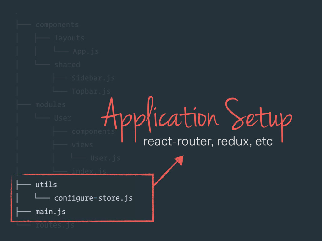Application Setup react-router, redux, etc