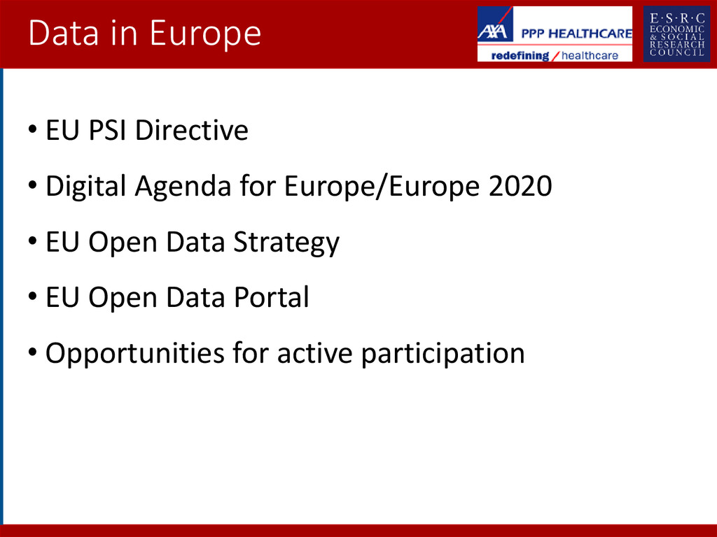 Data in Europe • EU PSI Directive • Digital Age...