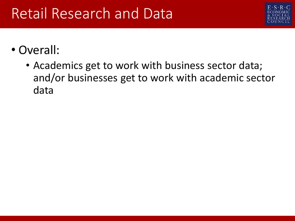 Retail Research and Data • Overall: • Academics...