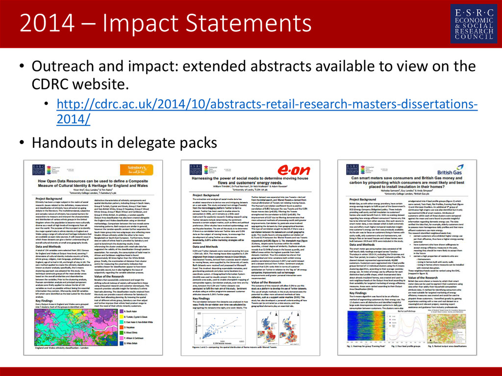 2014 – Impact Statements • Outreach and impact:...