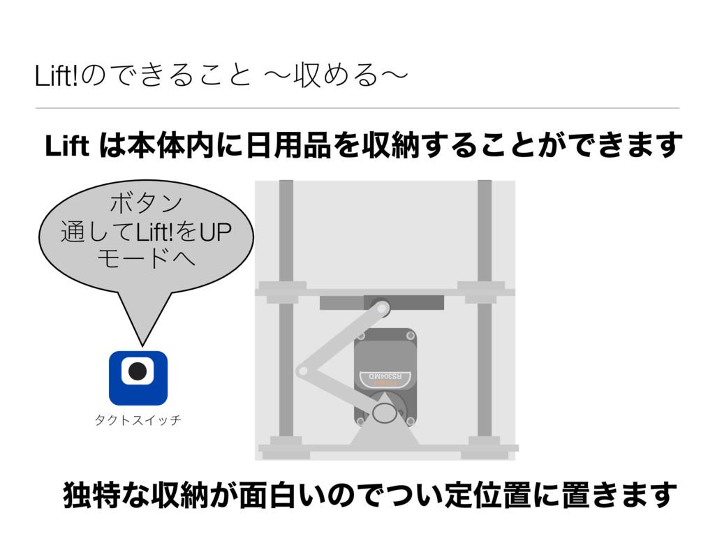 Lift!ͷͰ͖Δ͜ͱ ʙऩΊΔʙ Lift ຊମʹ༻Λऩೲ͢Δ͜ͱ͕Ͱ͖·͢ ಠಛͳ...