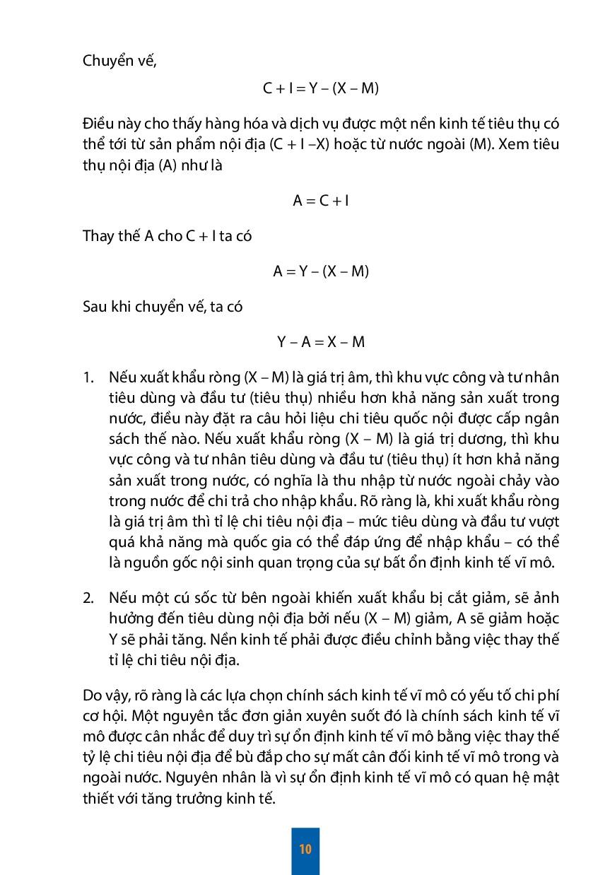 10 Chuyển vế, C + I = Y – (X – M) Điều này cho ...