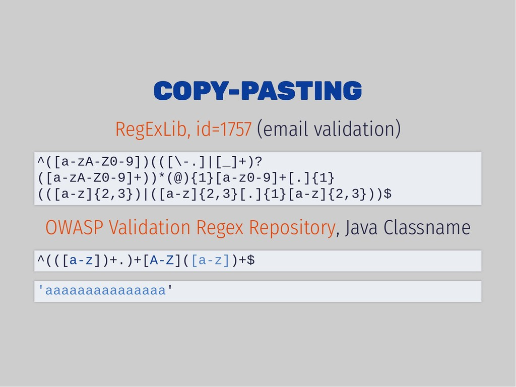 COPY-PASTING COPY-PASTING (email validation) , ...