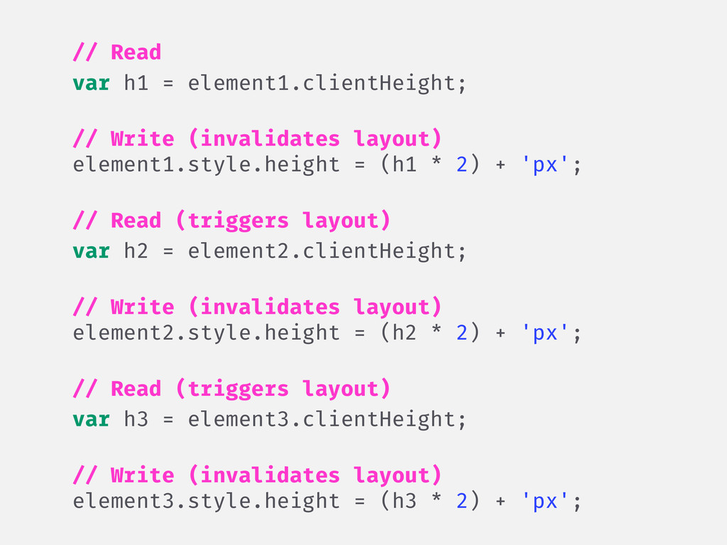// Read var h1 = element1.clientHeight; ! // Wr...
