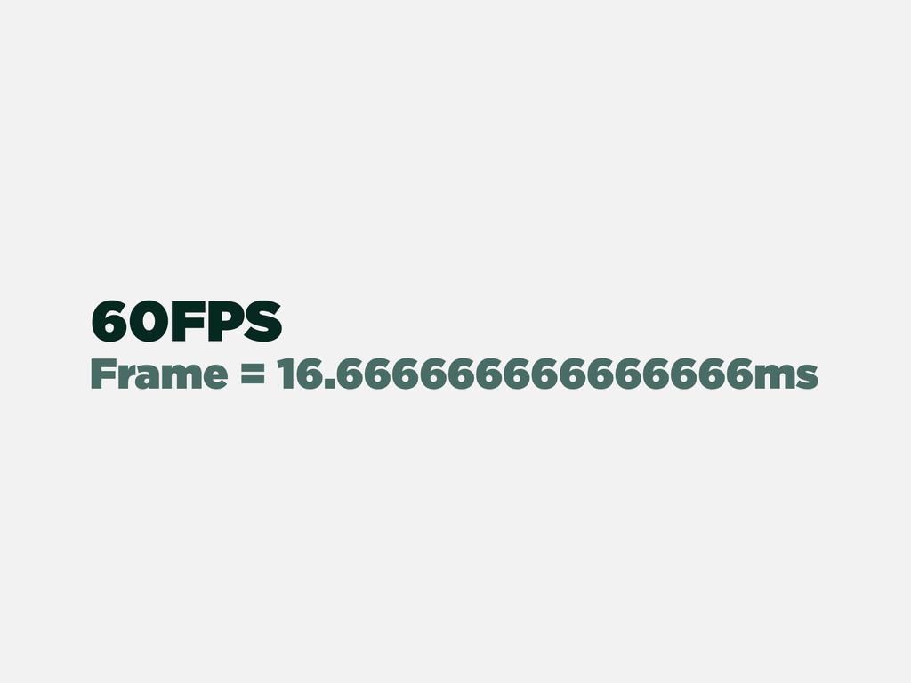 Frame = 16.666666666666666ms 60FPS