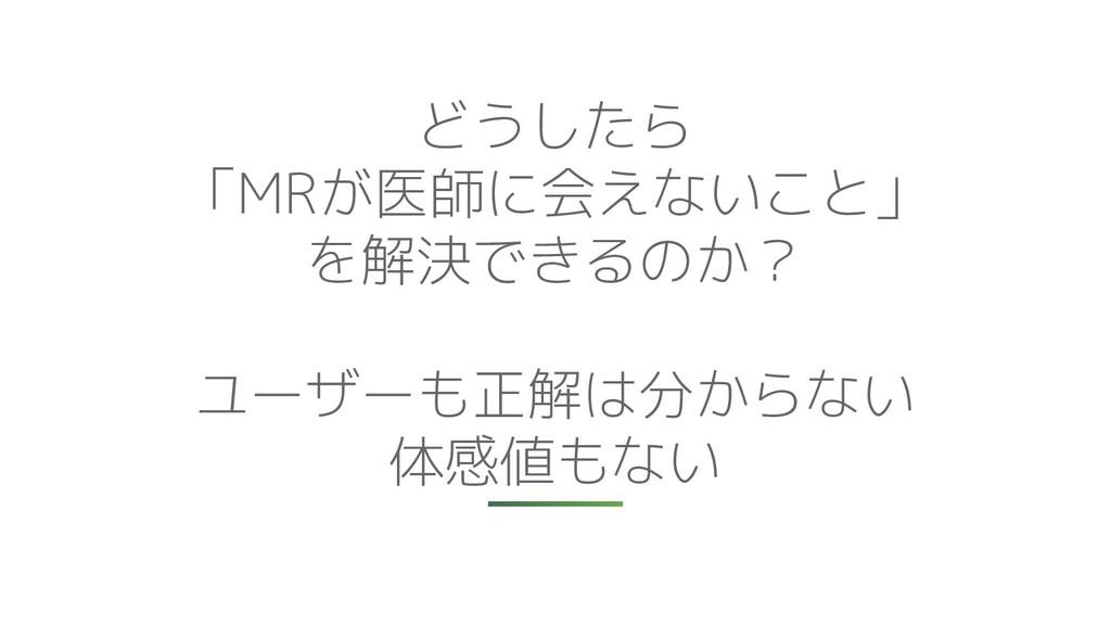 どうしたら 「MRが医師に会えないこと」 を解決できるのか? ユーザーも正解は分からない 体感...