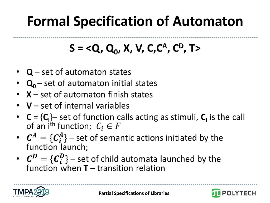 Partial Specifications of Libraries Formal Spec...