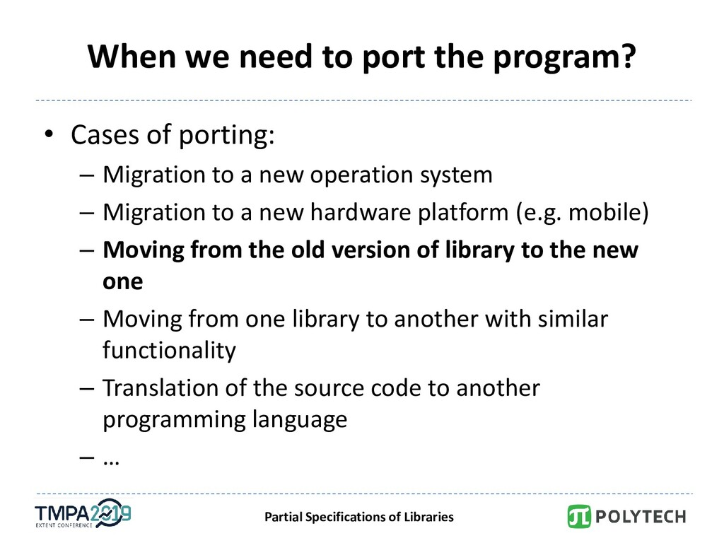 Partial Specifications of Libraries When we nee...
