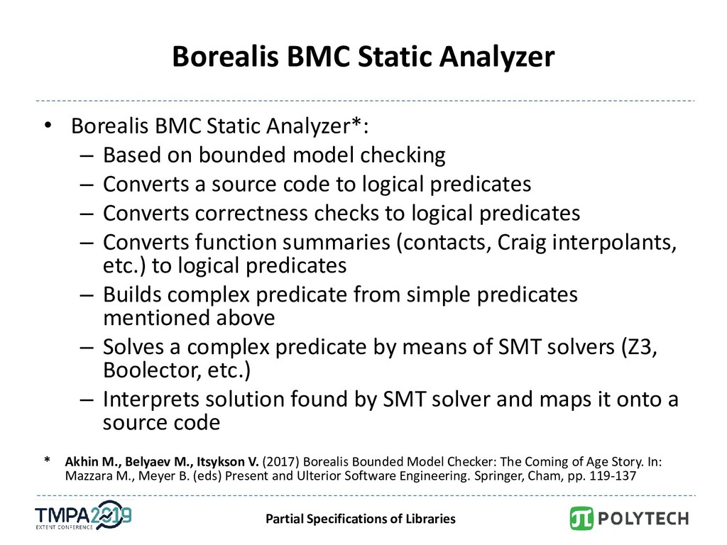 Partial Specifications of Libraries Borealis BM...