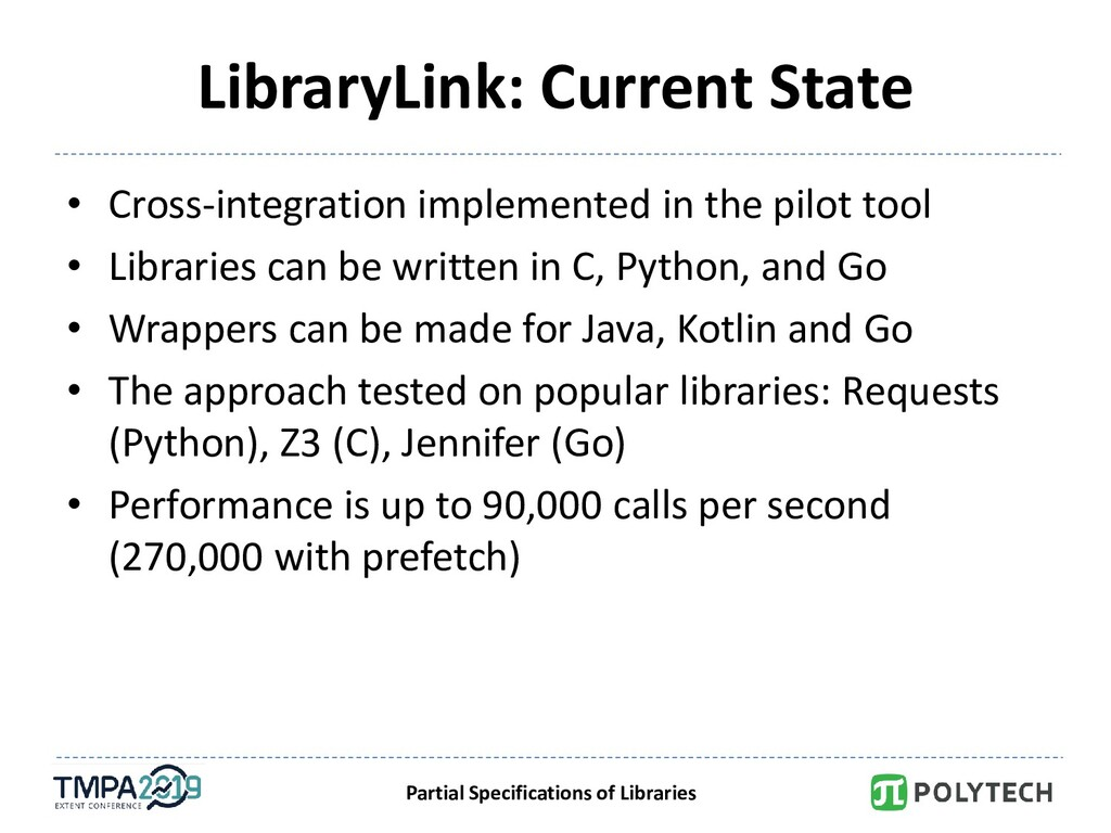 Partial Specifications of Libraries LibraryLink...