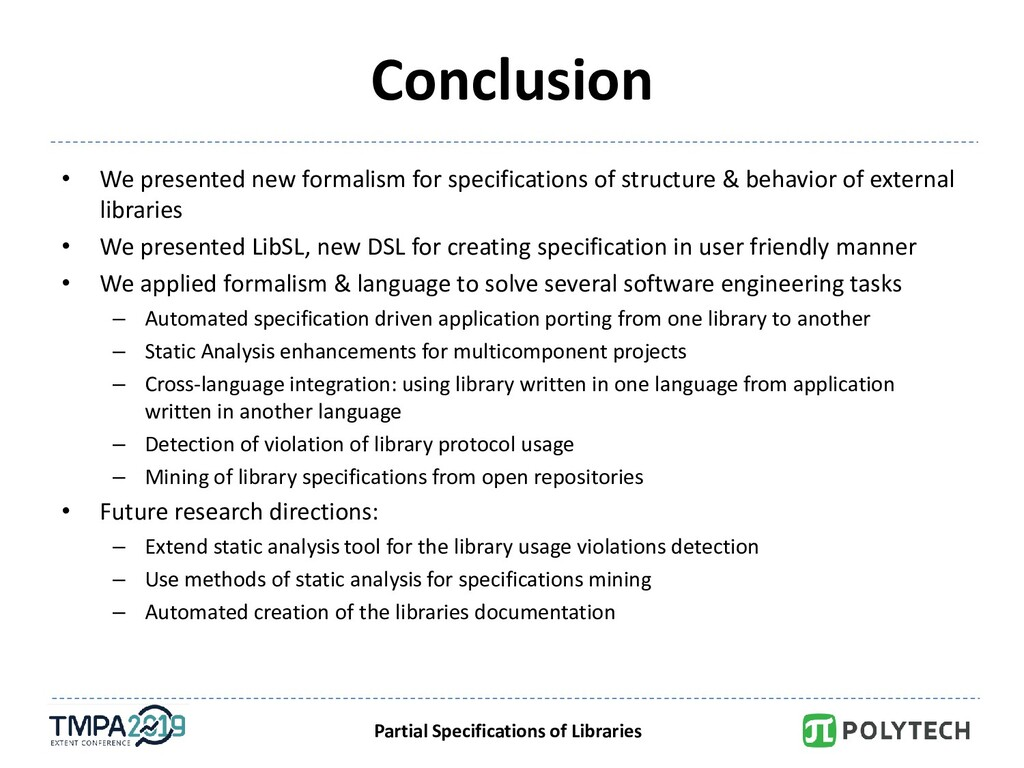 Partial Specifications of Libraries Conclusion ...
