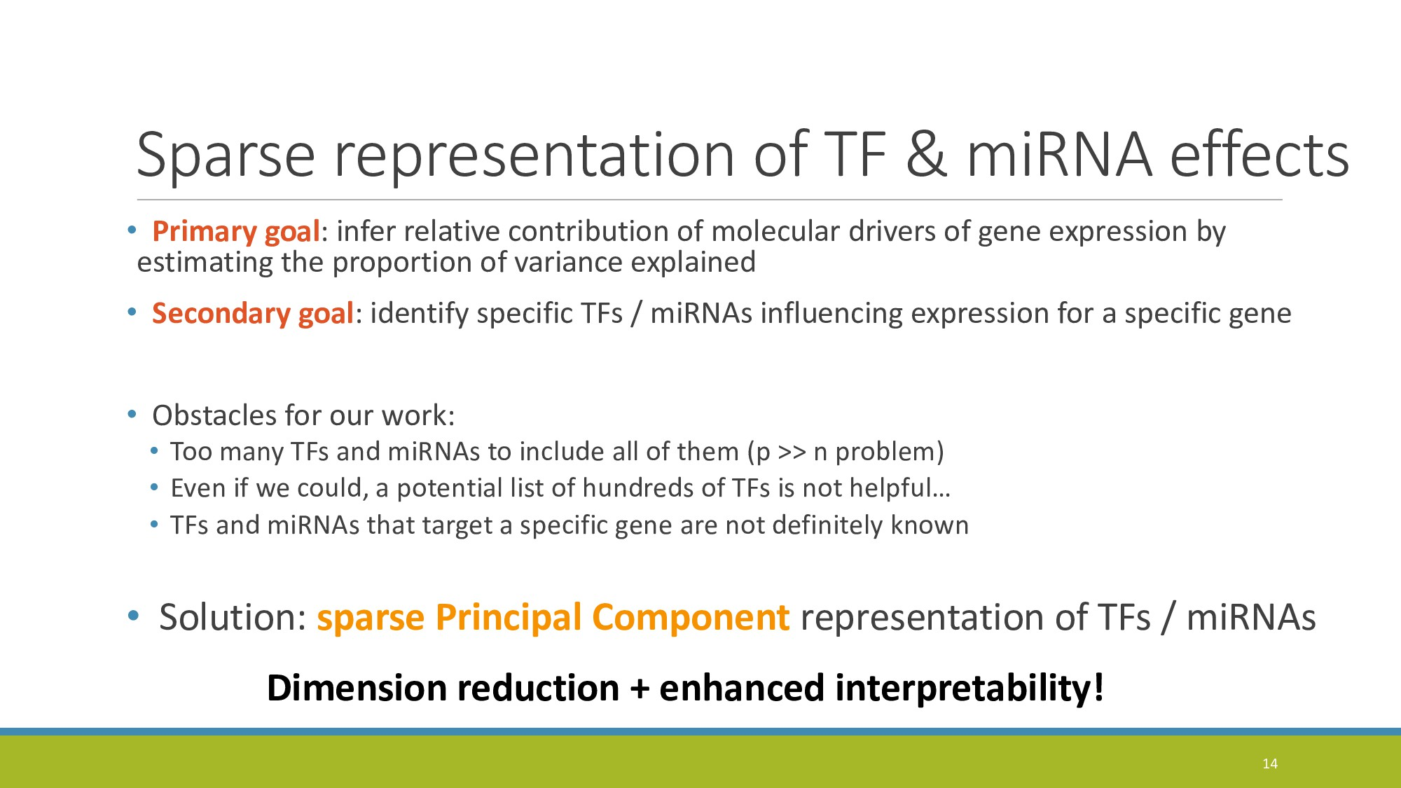 Sparse representation of TF & miRNA effects • P...