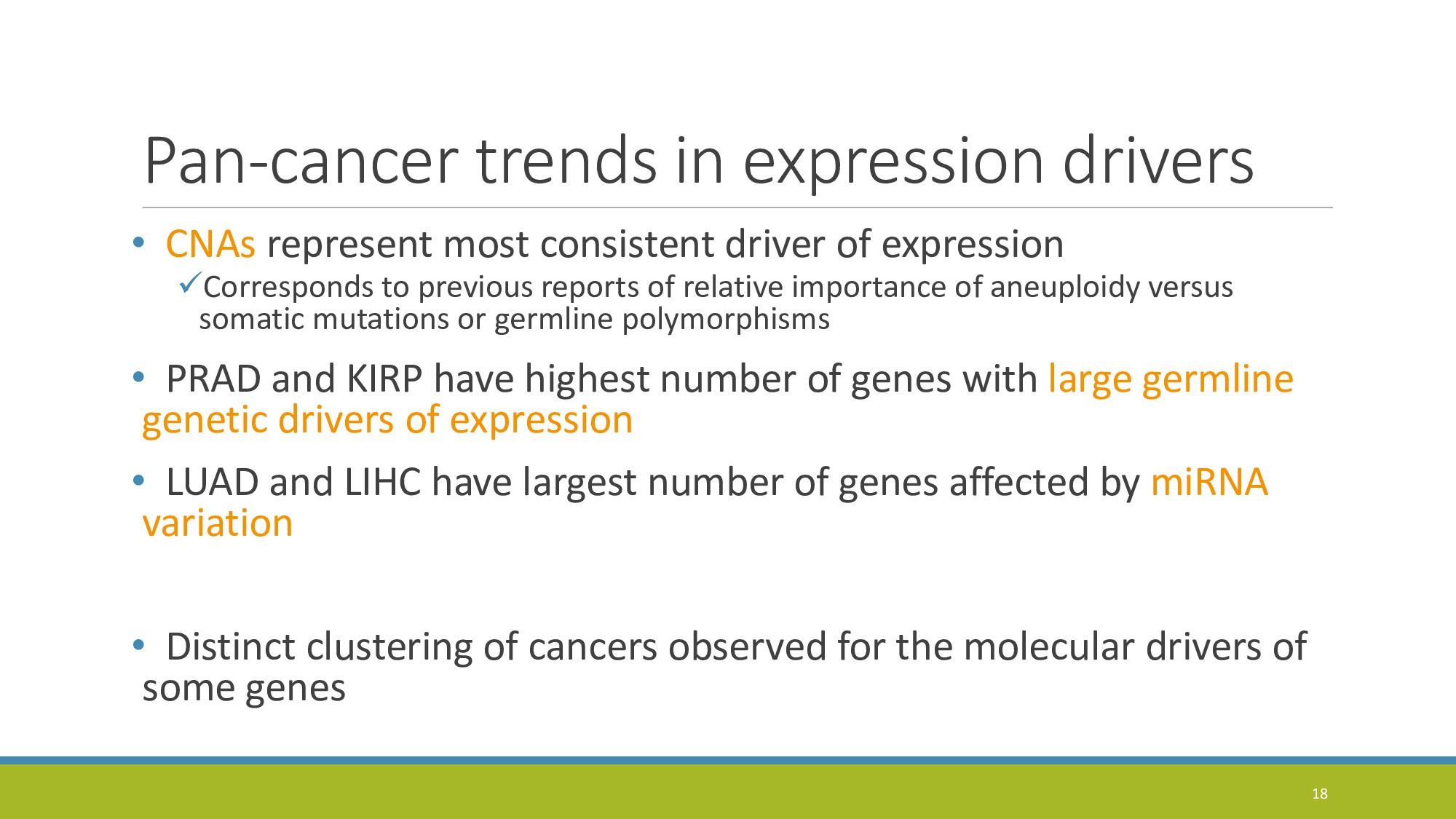 Pan-cancer trends in expression drivers • CNAs ...
