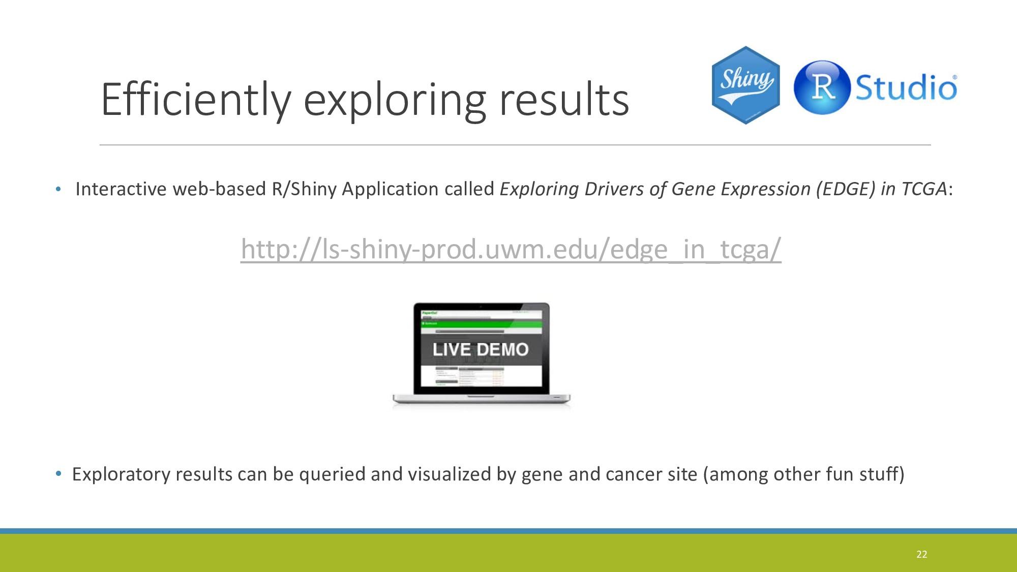 Efficiently exploring results • Interactive web...