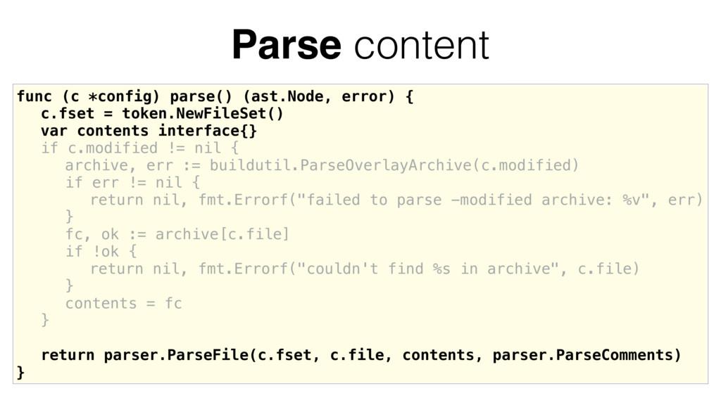func (c *config) parse() (ast.Node, error) { c....