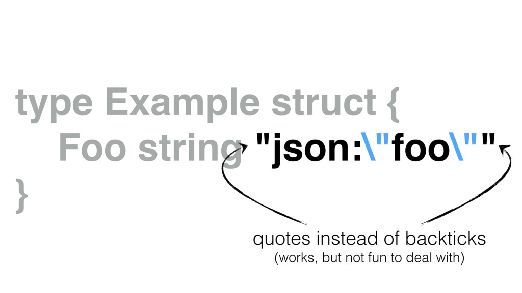"type Example struct { Foo string ""json:\""foo\""""..."