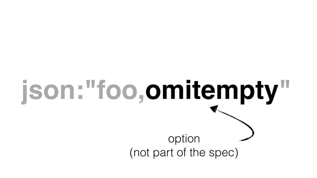"json:""foo,omitempty"" option (not part of the sp..."