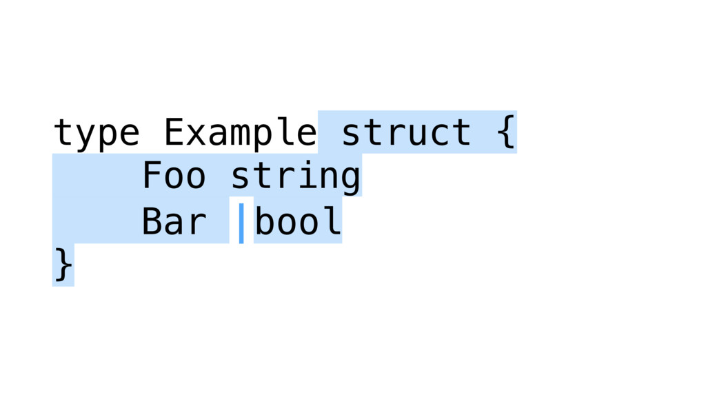 type Example struct { Foo string Bar |bool }