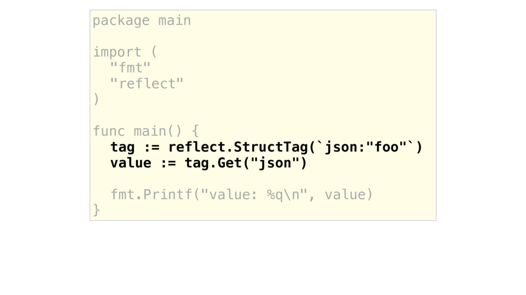 "package main import ( ""fmt"" ""reflect"" ) func ma..."