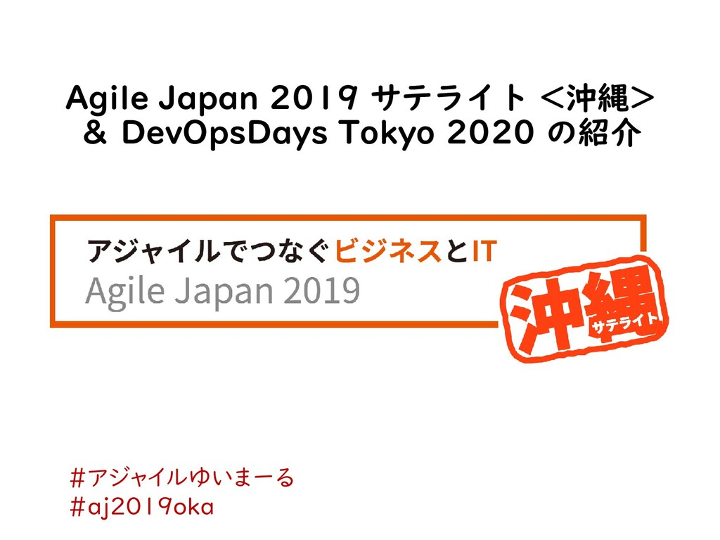 Agile Japan 2019 サテライト <沖縄> & DevOpsDays Tokyo ...
