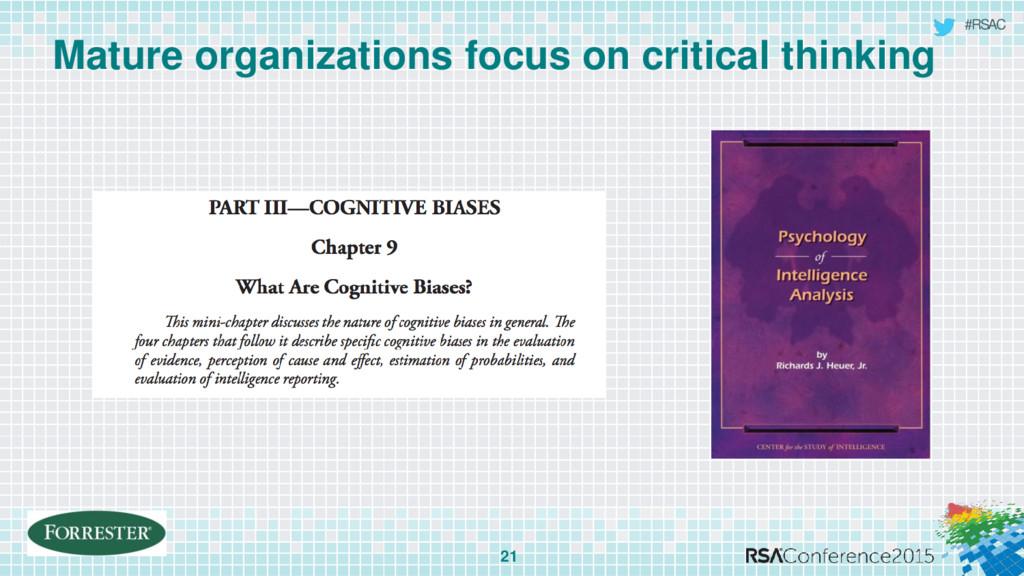 #RSAC Mature organizations focus on critical th...