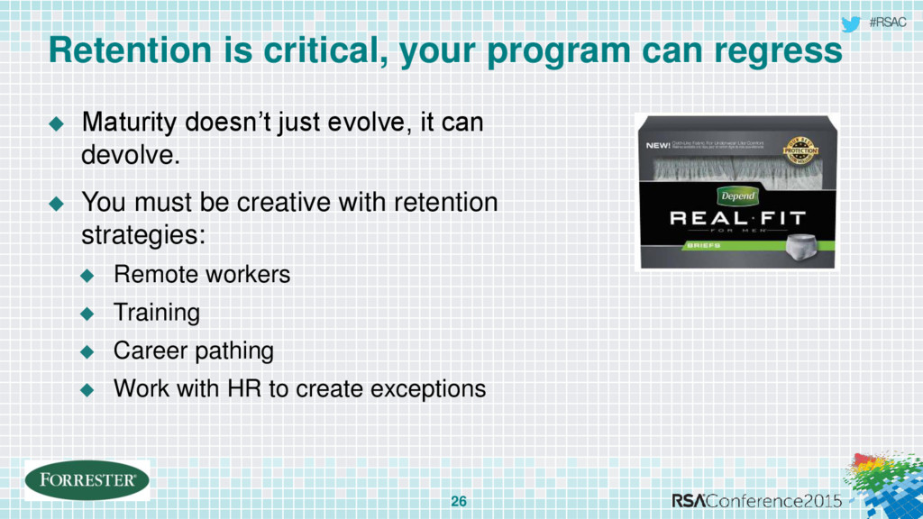#RSAC Retention is critical, your program can r...