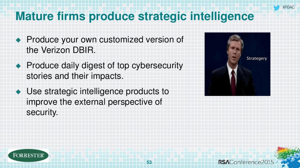 #RSAC Mature firms produce strategic intelligen...