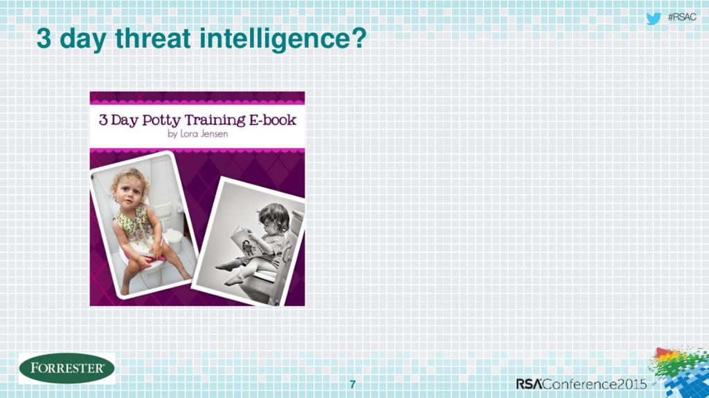 #RSAC 3 day threat intelligence? 7