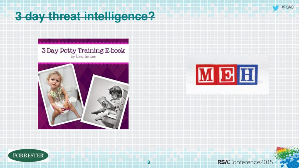 #RSAC 3 day threat intelligence? 8