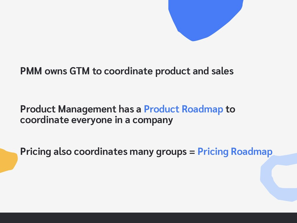 PMM owns GTM to coordinate product and sales Pr...