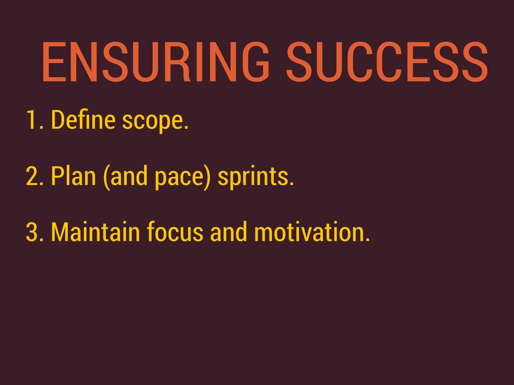 ENSURING SUCCESS 1. Define scope. 2. Plan (and p...