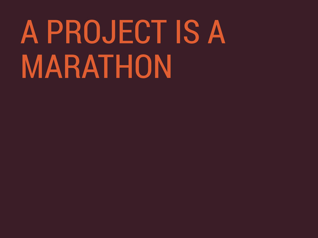 A PROJECT IS A MARATHON