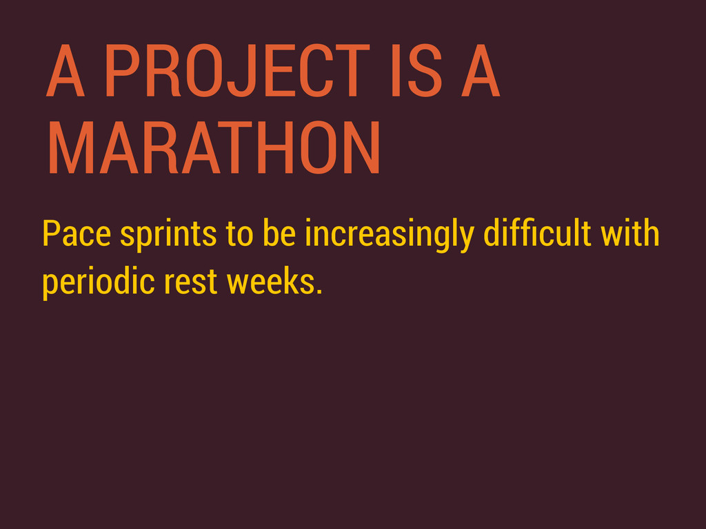 A PROJECT IS A MARATHON Pace sprints to be incr...