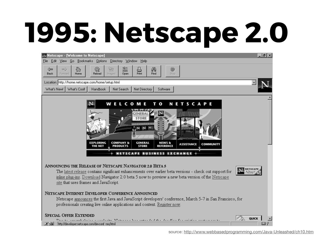 1995: Netscape 2.0 source: http://www.webbasedp...