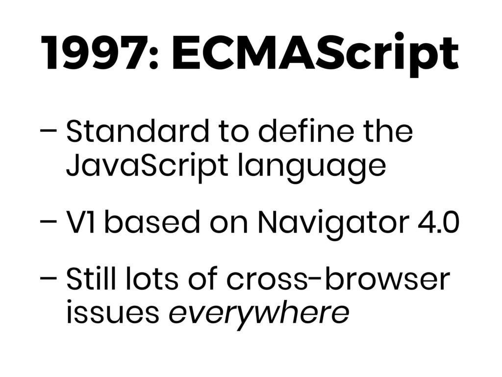 1997: ECMAScript – Standard to define the JavaS...
