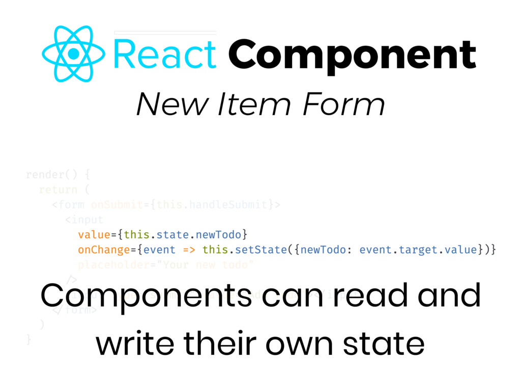 New Item Form Components can read and write the...
