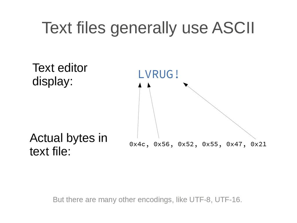 Text files generally use ASCII Text editor disp...