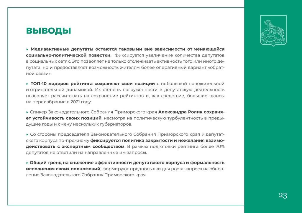 23 ВЫВОДЫ ▶ Медиаактивные депутаты остаются так...