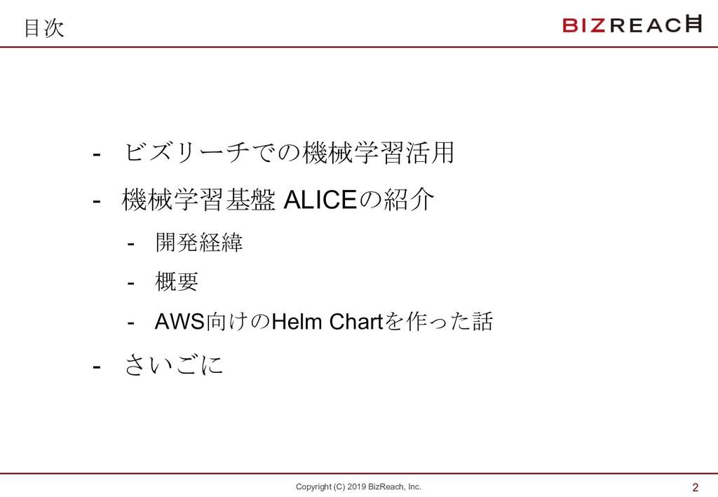 Copyright (C) 2019 BizReach, Inc. 目次 - ビズリーチでの機...