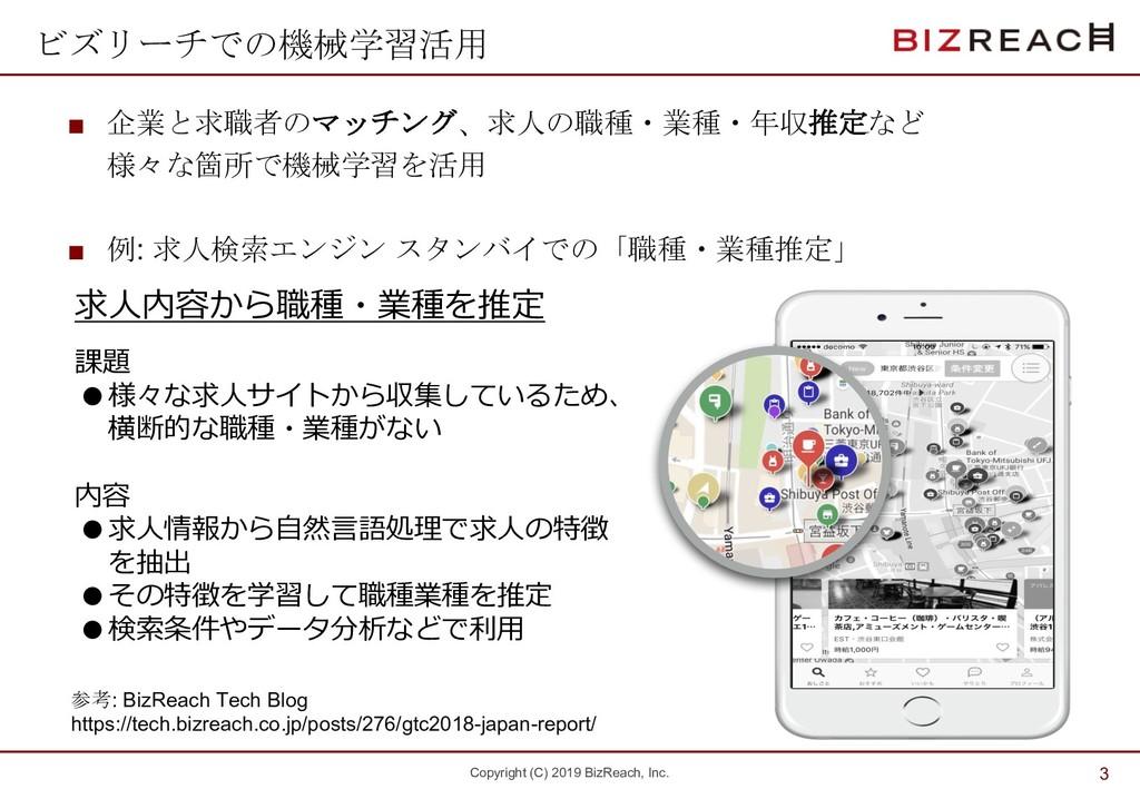 Copyright (C) 2019 BizReach, Inc. ビズリーチでの機械学習活用...