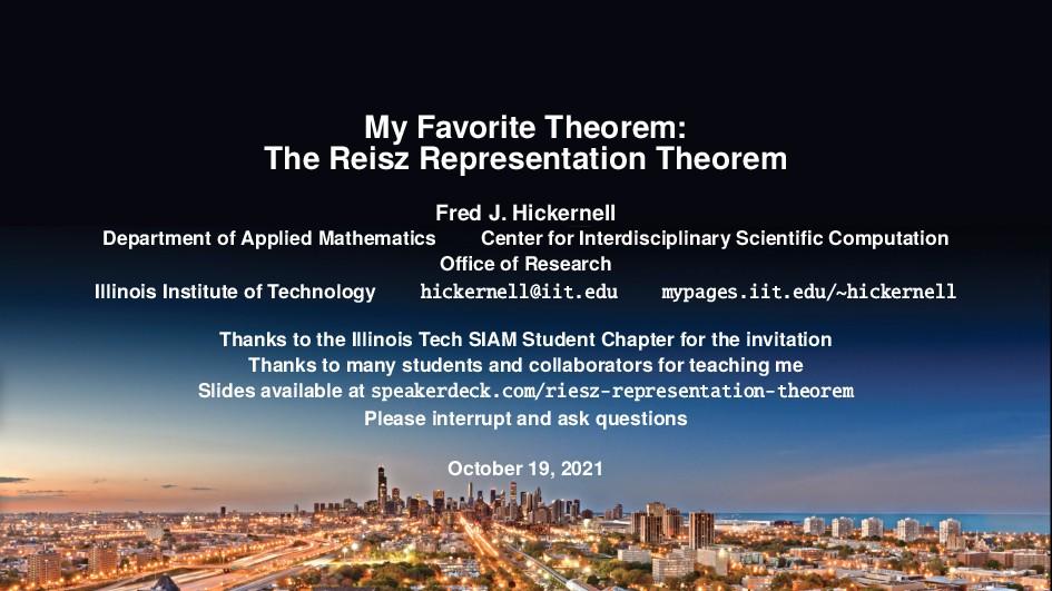 My Favorite Theorem: The Reisz Representation T...