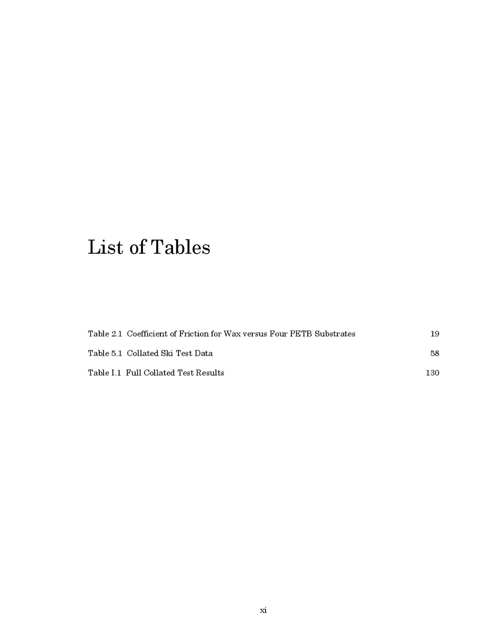 xi List of Tables Table 2.1 Coefficient of Fric...