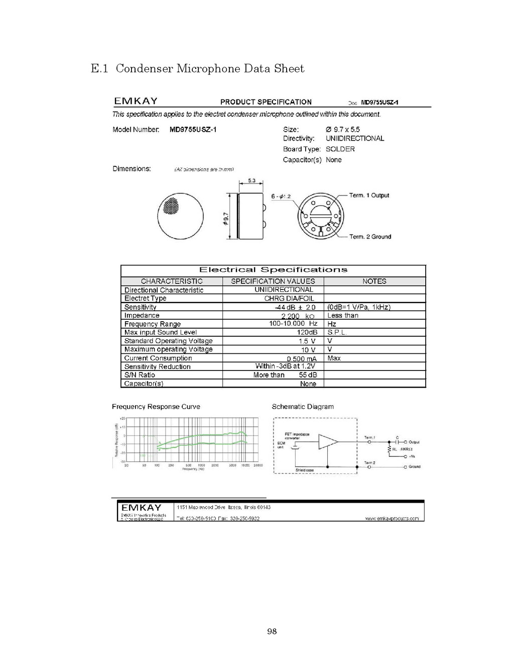 98 E.1 Condenser Microphone Data Sheet