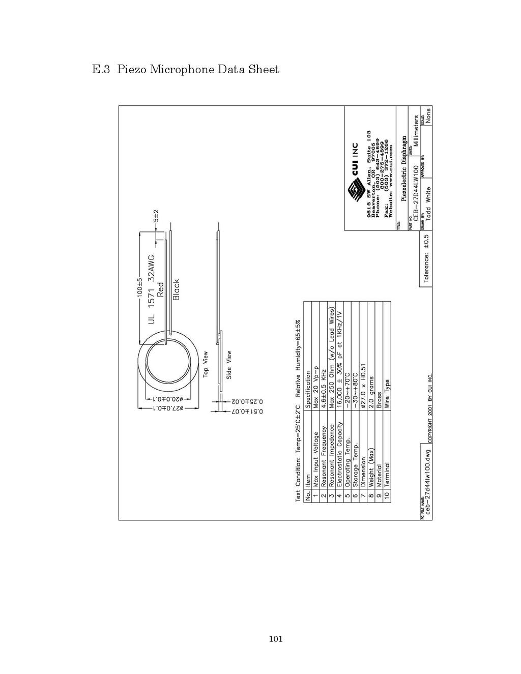 101 E.3 Piezo Microphone Data Sheet