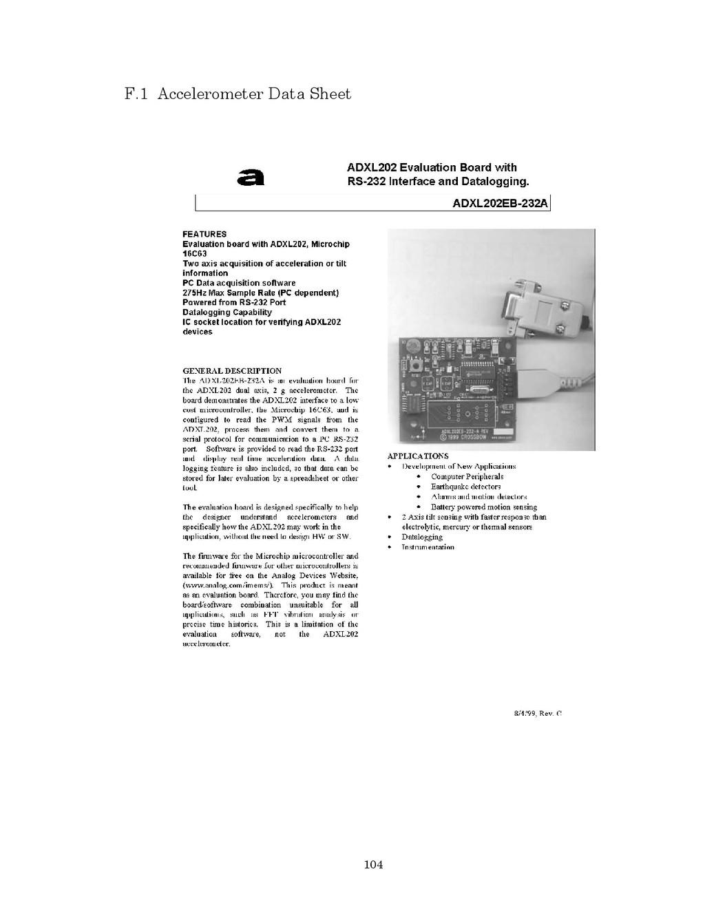 104 F.1 Accelerometer Data Sheet