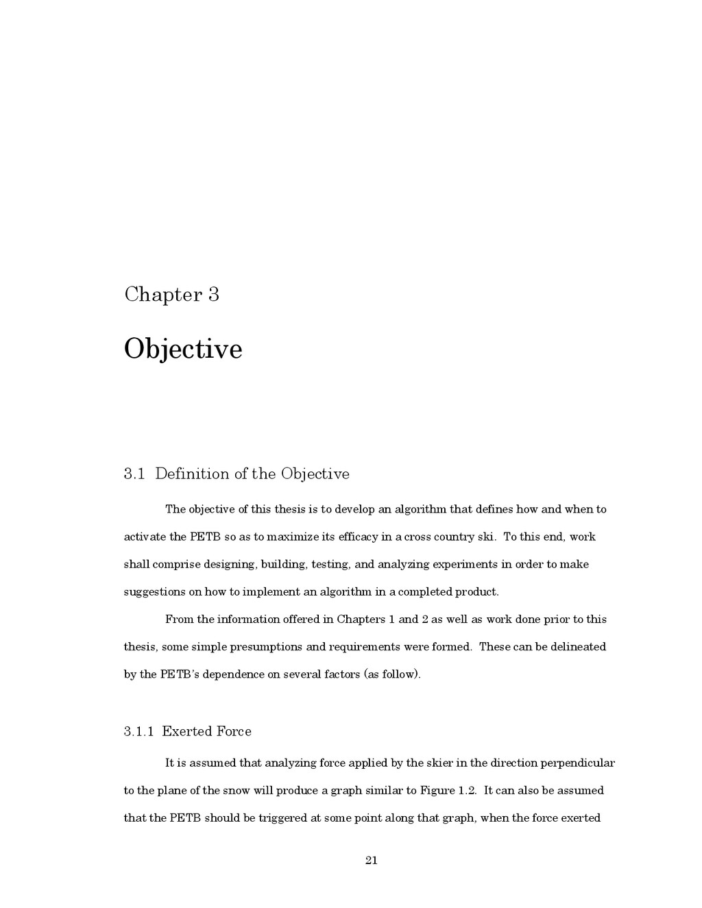 21 Chapter 3 Objective 3.1 Definition of the Ob...